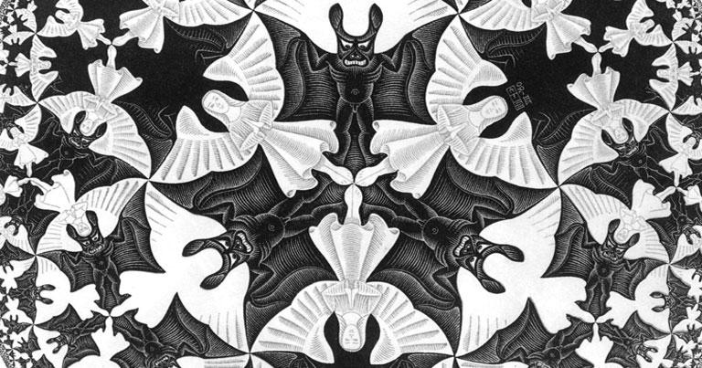 Detalhe da obra Circle Limit IV de M.C. Escher (1898-1971) - Razão e Imaginação