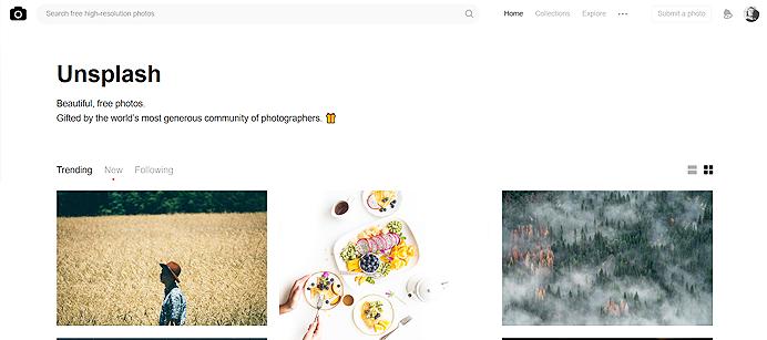 Clique na imagem para acessar o Unsplash – Banco de imagens grátis